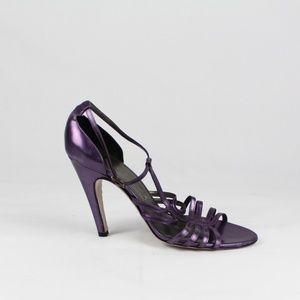 Salvatore Ferragamo Purple Leather Strappy Heels